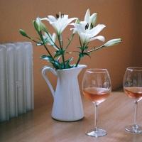 Biele ľalie, ružové víno